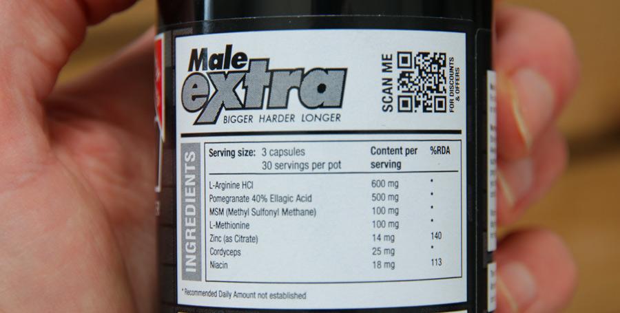 male extra ingredienser