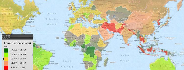 penis størrelse verdens kort